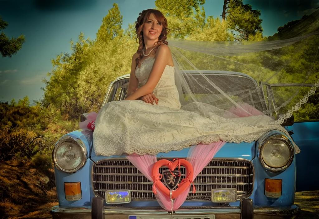fotos, boda sobre vehículo.