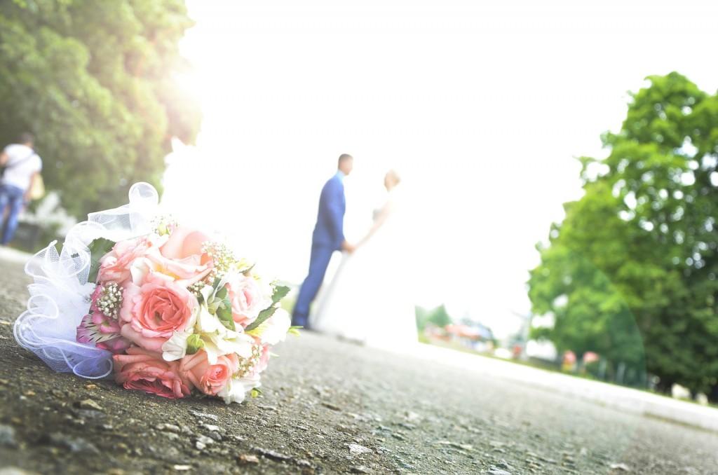 parejas, boda, foto carretera.